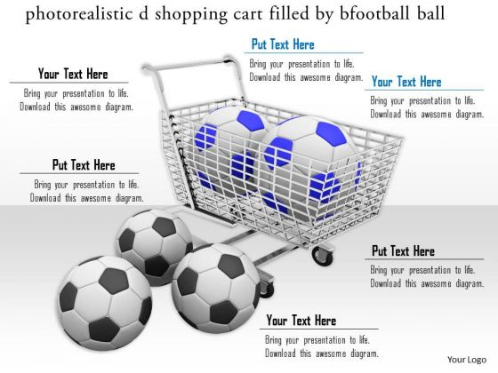 Stock Photo Shopping Cart Filled By Footballs PowerPoint Slide