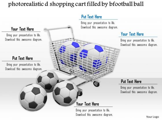 Stock Photo Shopping Cart Full With Footballs PowerPoint Slide