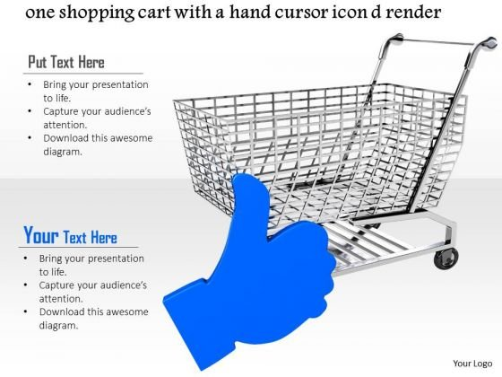 Stock Photo Shopping Cart With Blue Hand Cursor Decision PowerPoint Slide