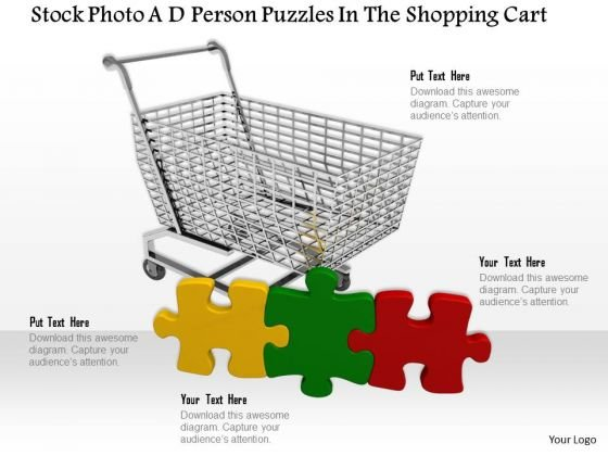 Stock Photo Shopping Cart With Colorful Puzzles PowerPoint Slide