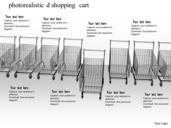 Stock Photo Shopping Carts With One Standing Out PowerPoint Slide