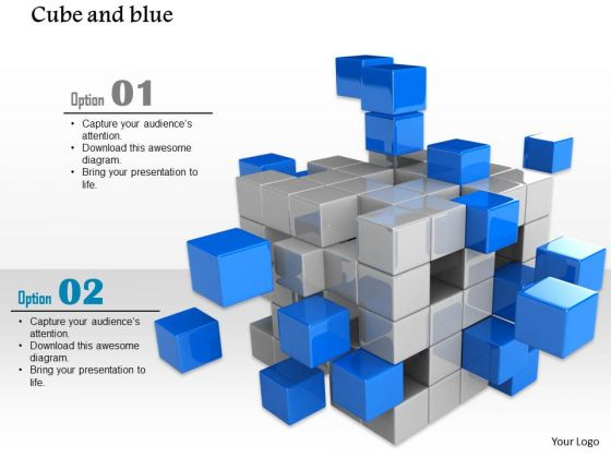 Stock Photo Silver And Blue Cubes On White Background PowerPoint Slide