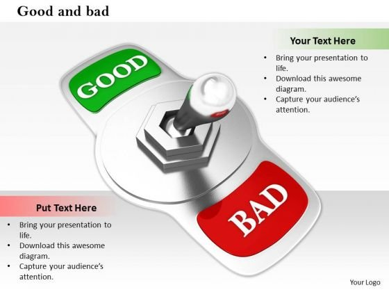 Stock Photo Silver Switch With Good And Bad Words PowerPoint Slide