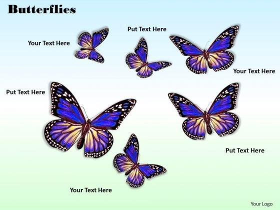Stock Photo Six Purple Butterflies On Sky Blue Background PowerPoint Slide