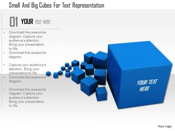 Stock Photo Small And Big Cubes For Text Representation PowerPoint Slide