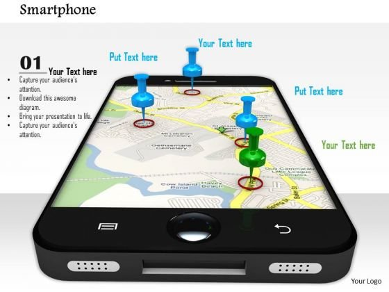 Stock Photo Smart Phone With Gps Navigation PowerPoint Slide