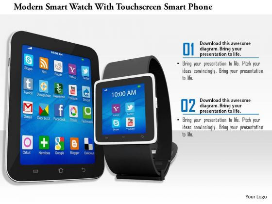 Stock Photo Smart Watch With Mobile For Technology PowerPoint Slide