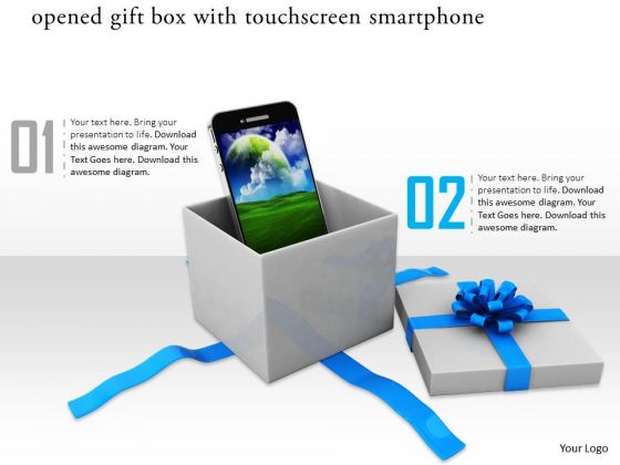 Stock Photo Smartphone Coming Out From Gift Box PowerPoint Slide
