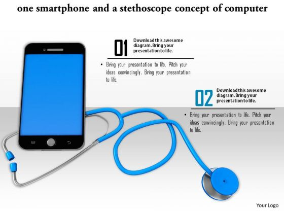 Stock Photo Smartphone With Stethoscope Medical Technology PowerPoint Slide