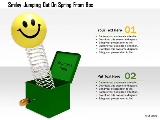 Stock Photo Smiley Jumping Out On Spring From Box PowerPoint Slide