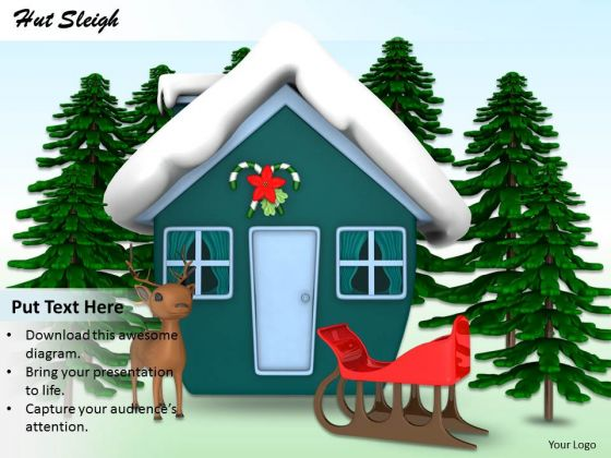 Stock Photo Snow Covered Hut With Sleigh PowerPoint Slide