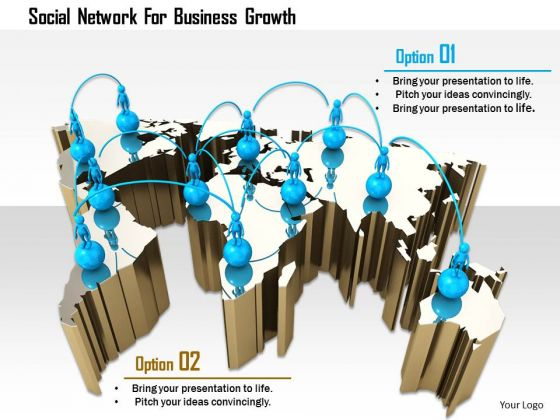 Stock Photo Social Network For Business Growth PowerPoint Slide
