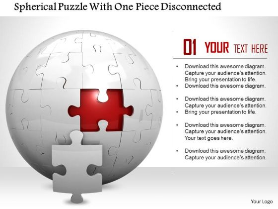 Stock Photo Spherical Puzzle With One Piece Disconnected PowerPoint Slide