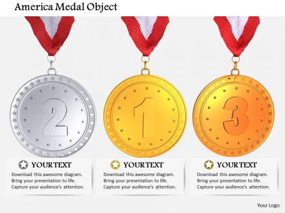 Stock Photo Sports Style Medals Of First Second And Third Prize PowerPoint Slide