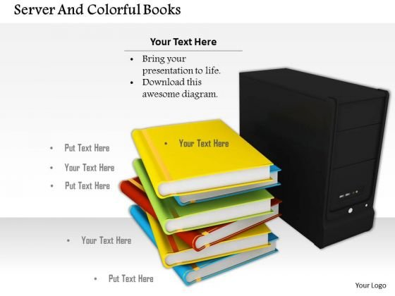 Stock Photo Stack Of Books With Computer Server Pwerpoint Slide