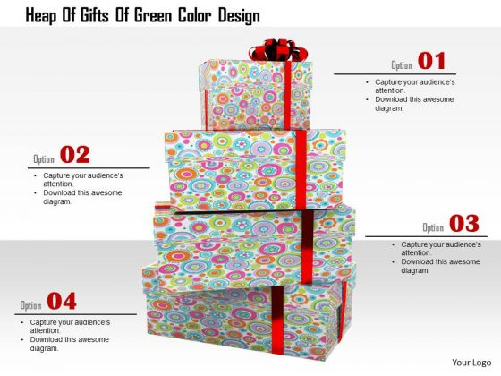 Stock Photo Stack Of Gift Boxes For Christmas PowerPoint Slide