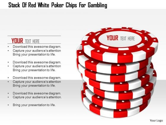 Stock Photo Stack Of Red White Poker Chips For Gambling PowerPoint Slide