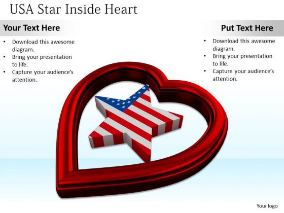 Stock Photo Star Of Usa Flag With Heart Symbol PowerPoint Slide