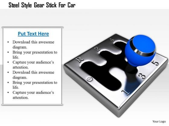 Stock Photo Steel Style Gear Stick For Car Image Graphics For PowerPoint Slide