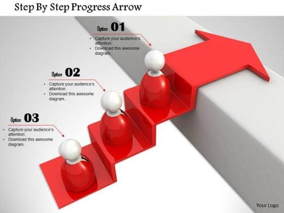 Stock Photo Step By Step Progress Arrow PowerPoint Slide