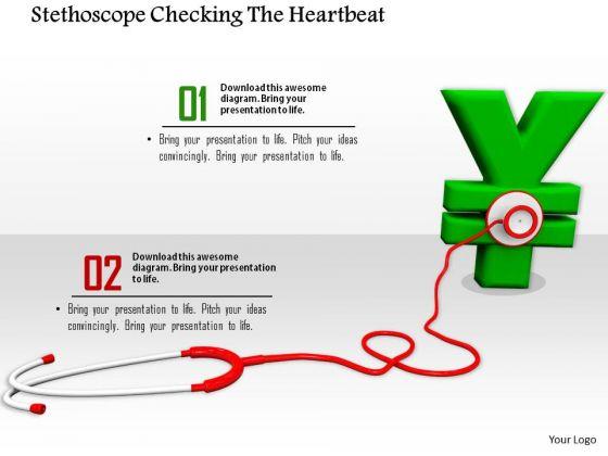 Stock Photo Stethoscope On Green Yen Symbol PowerPoint Slide