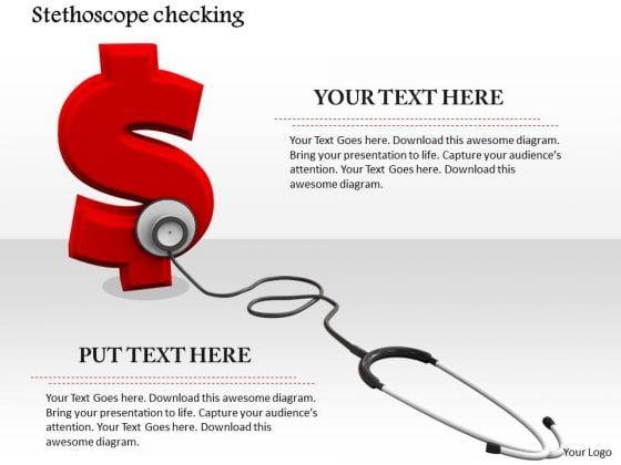 Stock Photo Stethoscope On Red Dollar Symbol PowerPoint Slide