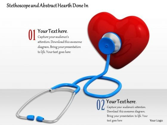Stock Photo Stethoscope On Red Heart Icon PowerPoint Slide