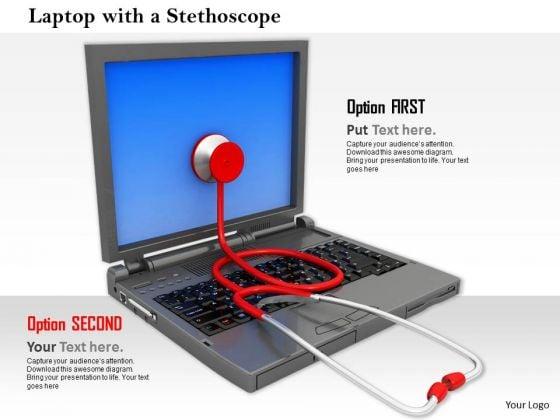 Stock Photo Stethoscope On Screen Of Laptop PowerPoint Slide