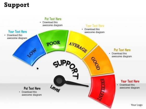 Stock Photo Support Meter With Excellent Level Pwerpoint Slide