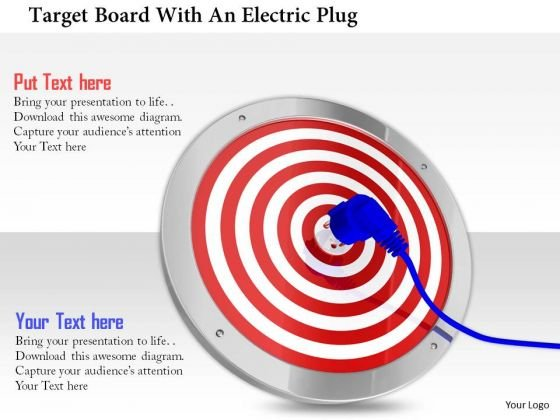 Stock Photo Target Board With An Electric Plug PowerPoint Slide