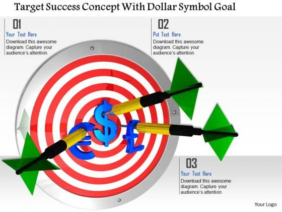 Stock Photo Target Success Concept With Dollar Symbol Goal PowerPoint Slide
