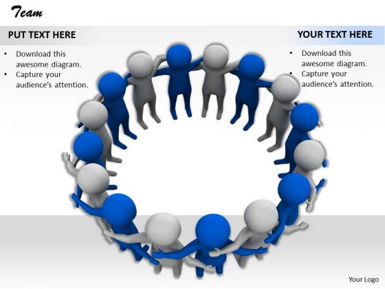 Stock Photo Team Of 3d Blue And White People Pwerpoint Slide