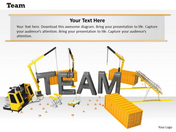 Stock Photo Team Word On Construction Site Pwerpoint Slide