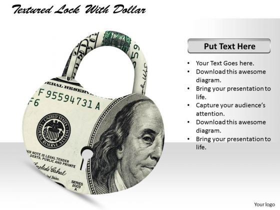 Stock Photo Textured Lock With Us Dollar Pwerpoint Slide
