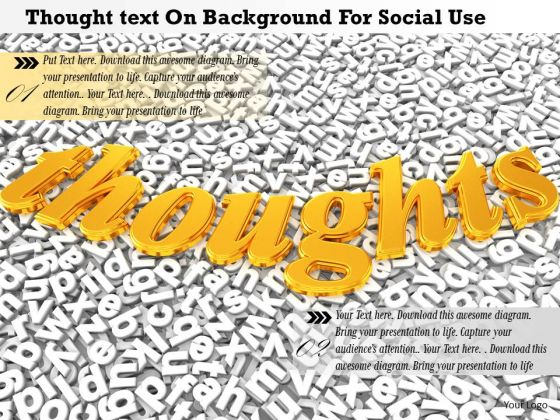 Stock Photo Thought Text On Background For Social Use PowerPoint Slide
