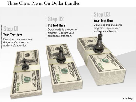 Stock Photo Three Chess Pawns On Dollar Bundles PowerPoint Slide