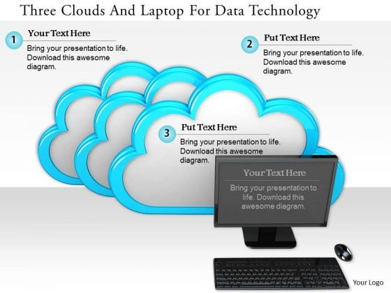 Stock Photo Three Clouds And Laptop For Data Technology PowerPoint Slide