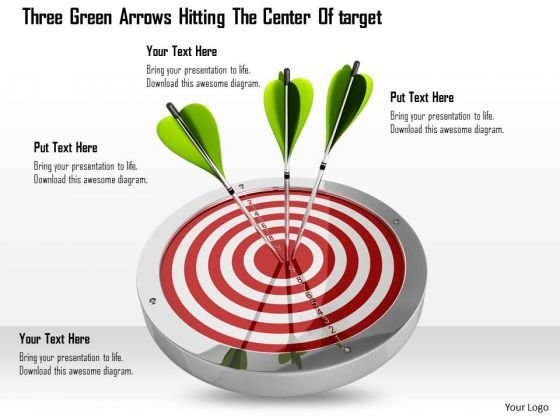 Stock Photo Three Green Arrows Hitting Center Of Target Pwerpoint Slide
