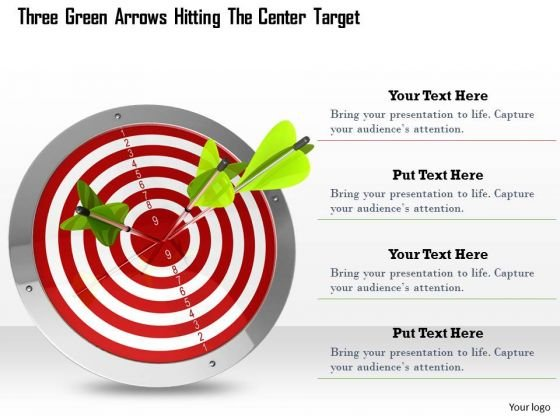 Stock Photo Three Green Arrows On Red Target Pwerpoint Slide