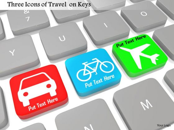Stock Photo Three Icons Of Travel On Keys Pwerpoint Slide