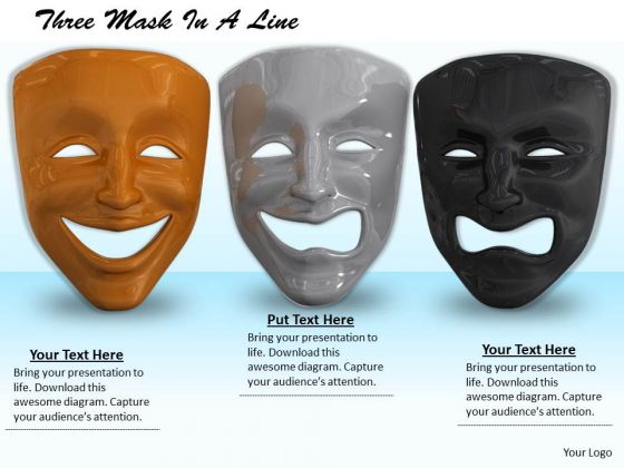 Stock Photo Three Masks In A Line PowerPoint Slide