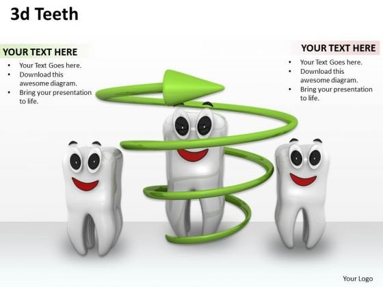 Stock Photo Three Teeths With One Under Green Arrow Shows Dental Health PowerPoint Slide
