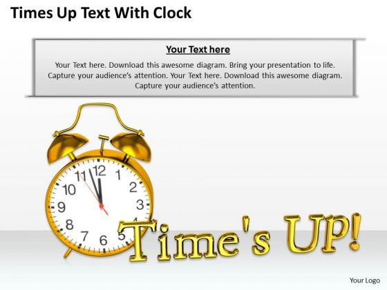 Stock Photo Times Up Text With Clock PowerPoint Template