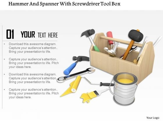 Stock Photo Tool Box With Paint Bucket PowerPoint Slide
