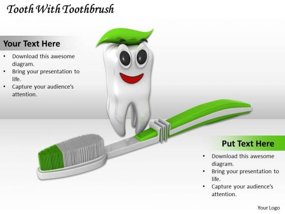 Stock Photo Tooth With Green Toothbrush Pwerpoint Slide