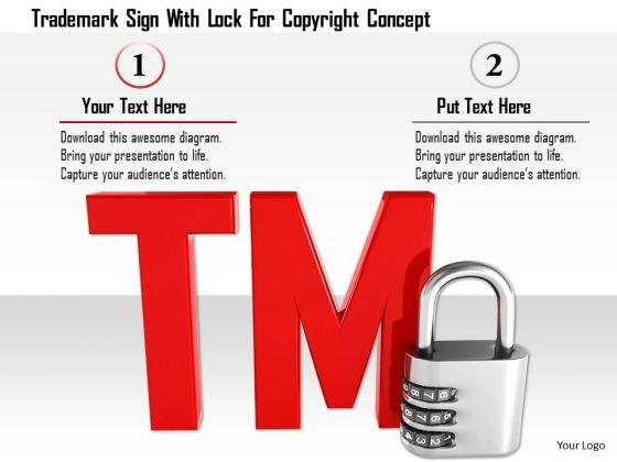 Stock Photo Trademark Sign With Lock For Copyright Concept PowerPoint Slide
