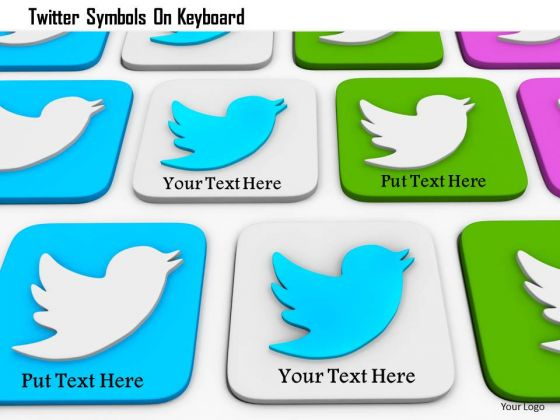 Stock Photo Twitter Symbols On Keyboard PowerPoint Slide