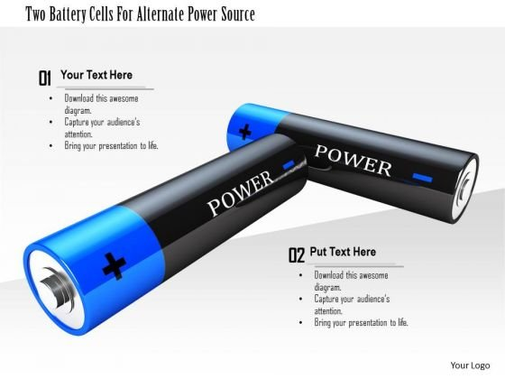 Stock Photo Two Battery Cells For Alternate Power Source PowerPoint Slide