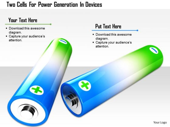 Stock Photo Two Cells For Power Generation In Devices PowerPoint Slide