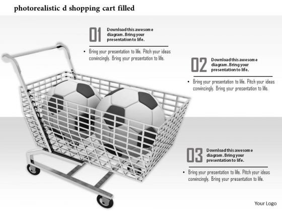 Stock Photo Two Footballs In Shopping Cart Pwerpoint Slide